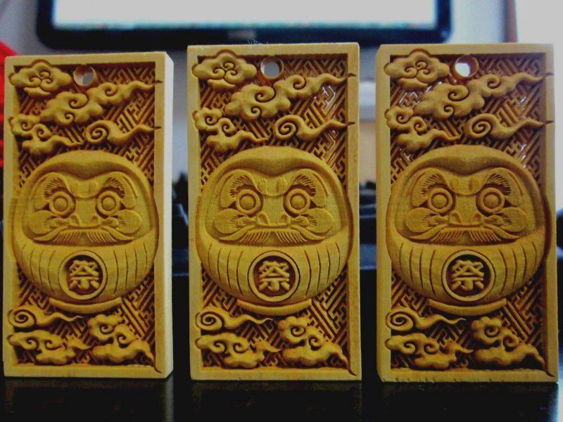 御蔵島ツゲ 武蔵野彫り だるま 嶋屋